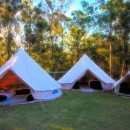 Bell Tents with sunset background