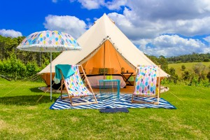 tent with chairs in front from bell tent hire co