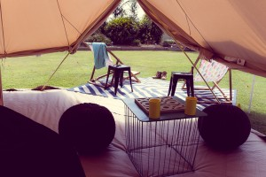 bell tent hire inside view