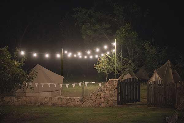 dimmable festoon lighting hire at night